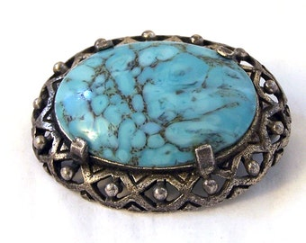 Vintage Miracle Brooch, Faux Turquoise Brooch, Blue Oval Brooch