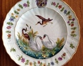 Vintage Capodimonte Heron & Swan Plate with a Crest/Shield
