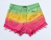 High Waisted Shorts Rasta Denim Jean Shorts Ripped Dip Dye Size 8 Festival Stoner Hippie