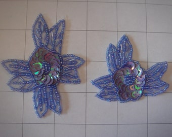 2 Piece Purple Flower Applique Set of 2 Beaded and Sequins