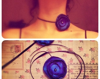 Handmade Silk Flower Ribbon Necklace in Deep Blue