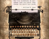 Typewriter Alchemy - photo print - Sepia Parchment Vintage Smith Corona Quote Texture Distressed Home Decor Wall Art Writer Creative Gift