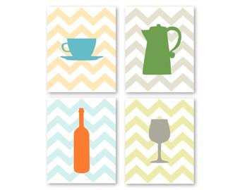 "Kitchen Art Coffee and Wine Chevron Art Prints - Set of (4) - 4"" x 6"", 5"" x 7's"" OR 8"" x 10"" // Pastel Chevrons // Modern Kitchen Art Decor"