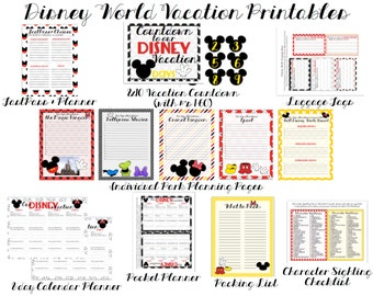 Reduced... INSTANT D/L Printable Mouse-Inspired Vacation Planning Pages - Disney World Vacation planning Stationery and Organizational Pages