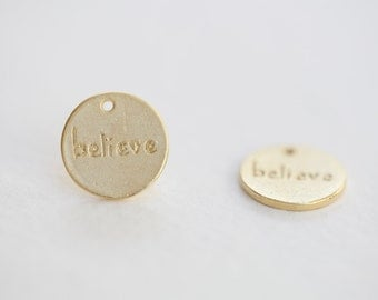 1pcs Vermeil Gold Round believe Disc - 12mm 18k gold plated over sterling silver disc