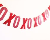 Red and Pink Glitter XOXO Valentine's Garland Banner