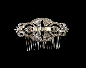 Art Deco Style Crystal Wedding Hair Comb Vintage Antique Inspired