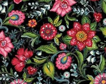 Flower Drops painted floral in black by P&B 1 yard