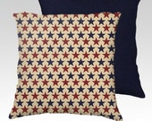 """18"""" X18"""" Vintage look Americana Small Stars Pillow Zippered Cover / Case w/ Choice of Red or Navy back.SUPER Luxurious Soft!"""