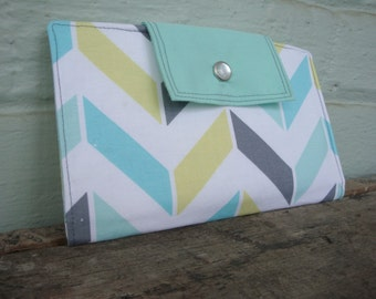 Chevron fabric wallet / clutch / pocketbook in gray, aqua, bright green, and blue