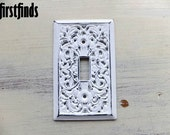 Filigree Electrical Cottage Style White Light Switch Plate Cover Painted Vintage Metal Shabby Chic Distressed Single DETAILS LISTED BELOW