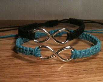His and Hers Infinity Bracelets Matching Bracelets Lovers Bracelets You Choose Color