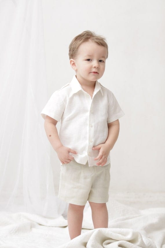Baby boy shorts Toddler boys pants Linen shorts Ivory by mimiikids