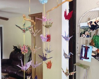 One of a kind, custom, rustic paper crane baby mobile