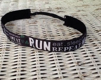 RUN Subway Art Headband - Womens Running Headband -Team Headband - Runner Girl Headbands - Adjustable Headband - Running Gift