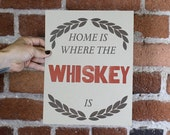 Home is where the WHISKEY is.  Two Color Letterpress Print