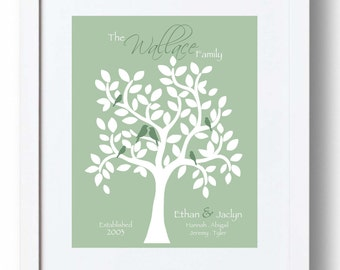FAMILY TREE personalized sign - Gift for Family - Gift for Parent's Anniversary - Christmas Gift -Birthday Gift- other colors