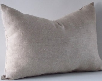 Natural Linen Lumbar Pillow Covers, Cushion Linen Cover,  Decorative Lumbar Pillow  Cover