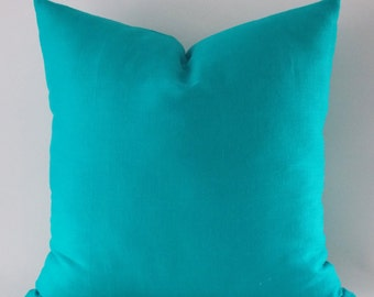 Turquoise Linen Pillow Cover, Cushion Cover, Decorative Throw Pillow, Modern Pillow