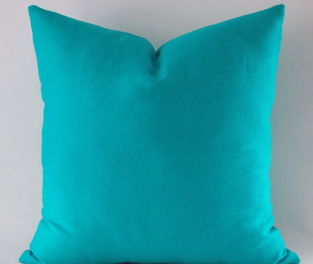 Turquoise Linen Pillow Cover Cushion Cover Decorative Throw