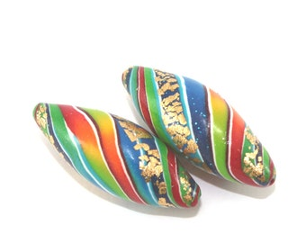 2 Polymer Clay beads in rainbow colors, unique stripes beads with gold, colorful leaf shaped beads for Jewelry Making, Marquise beads