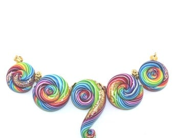 Polymer Clay colorful stripes beads for Jewelry Making, rainbow spiral beads for Craft Supplies, Ombre beads with gold touch,  set of 5