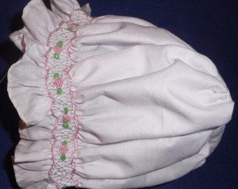 Hand smocked baby girl bonnet