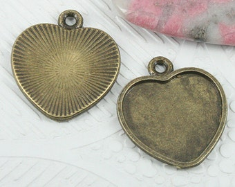 18pcs antiqued bronze color heart shaped cabochon settings EF0733