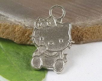 10pcs Tibetan silver Kitty charm pendants H0171