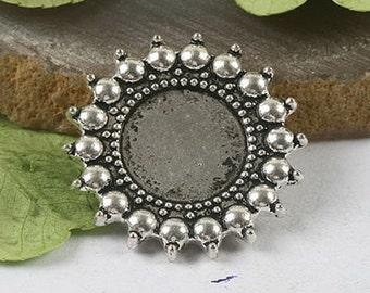 8pcs Tibetan Silver delicate round settings h0291