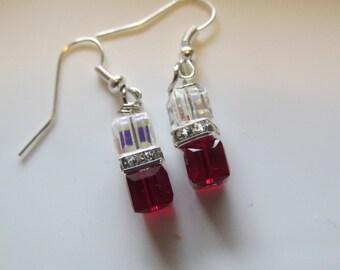 Red Swarovski Cube Earrings,February Birthstone Earrings