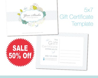 On Sale 50% Off. Gift Certificate Template. 5X7 Photoshop PSD Files. For Personal and Small Commercial Use. A_115