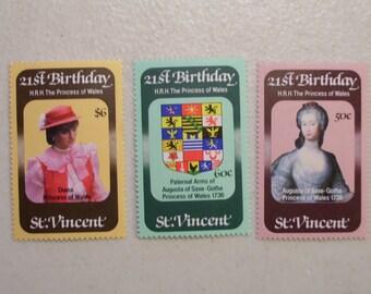 1982 St. Vincent Princess Diana's 21st Birthday Stamps, Set of 3 MNH, Scott 647-49