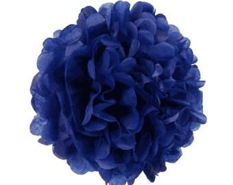 """Set of 3 Royal Blue Tissue Pom Pom, Navy Blue Tissue Paper Pom Poms 14"""""""