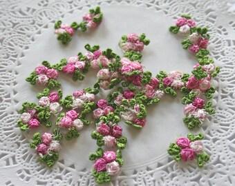 12 Venise Raspberry Pink Flower Appliques