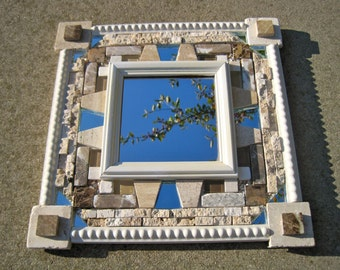 """Natural stone mosaic mirror. 12""""x12"""" made from upcycled materials."""
