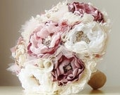 Fabric Brooch Bouquet,  Wedding Bouquet,  Bridal Brooch Bouquet,  Fabric Flower Bouquet,  Vintage Wedding