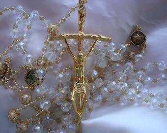 Beautiful Clear and Gold Swarovski Crystals Wedding Lazo/Lasso