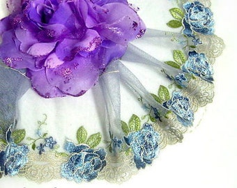 """DN541- 5 """" Blue Embroidered Tulle Mesh Lace Trim by Yard"""