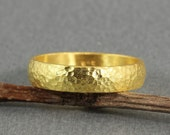 6 mm Handmade Hammered 24K Yellow Gold Over 925K Sterling Silver Half Round Vermeil Wedding Band Ring - FREE Shipping, Sizing & Engraving