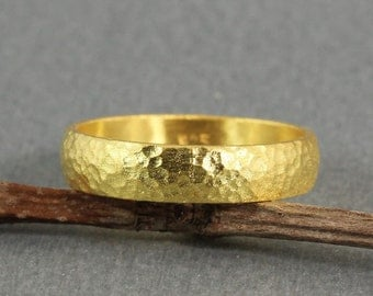 6mm Handmade Hammered 24K Yellow Gold Over 925K Sterling Silver Half Round Vermeil Handcrafted Wedding Band Ring - FREE Sizing & Engraving