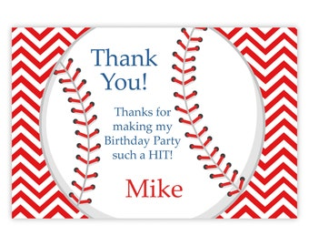 Baseball Thank You Card - Fun Bright Red Chevron, Sport Baseball Ball Personalized Birthday Party Thank You - a Digital Printable File