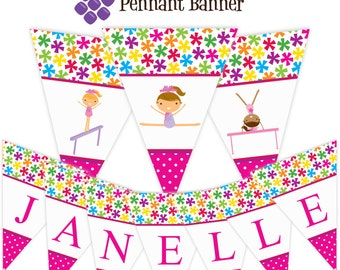 Gymnastic Pennant Banner - Bright Star Flowers, Pink and Purple, Girl Gymnast Personalized Birthday Party Banner - A Digital Printable File