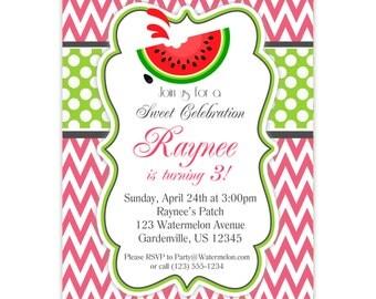 Watermelon Invitation - Pink Chevron, Lime Green Polka Dots, Summer Watermelon Personalized Birthday Party Invite - Digital Printable File