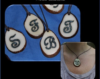 Personalized Tagua Necklace, Initial Pendant Necklace, Turquoise Inlay, Anniversaries, Mothers Day, Christmas, Birthdays, Gifts