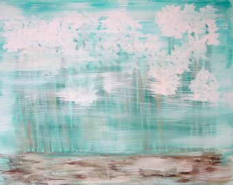 """Art Original Acrylic Painting """"Narcissus Papyraceus"""" 24""""x30"""" on Canvas with Aqua / Turquoise, White, Brown / Beige"""