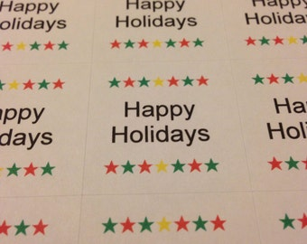 Happy Holidays Stickers - Happy Holidays Labels / Envelope Seals