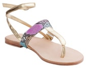 MIKAT Designer Handmade Genuine Python Snakeskin Gold Multicolour Leather Sandals Shoes Flats Flip Flops