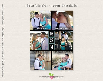 Printable Photo Save the Date Card- Date Blocks- Colors Changeable