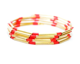 Gold Memory Wire Bracelet, Coral Bracelet, Women's Gold Bracelet, Gold Jewelry, Rubber Bracelet, Bracelets for Women